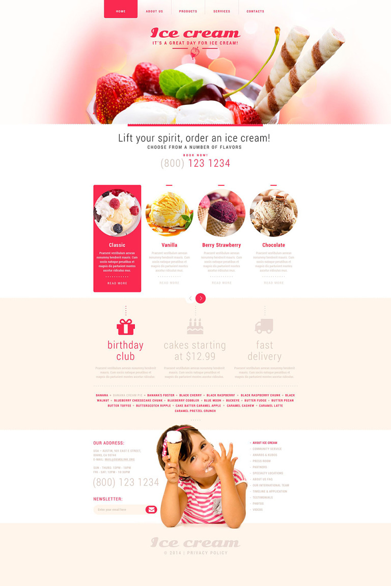 Ice Cream Website Template New Screenshots BIG
