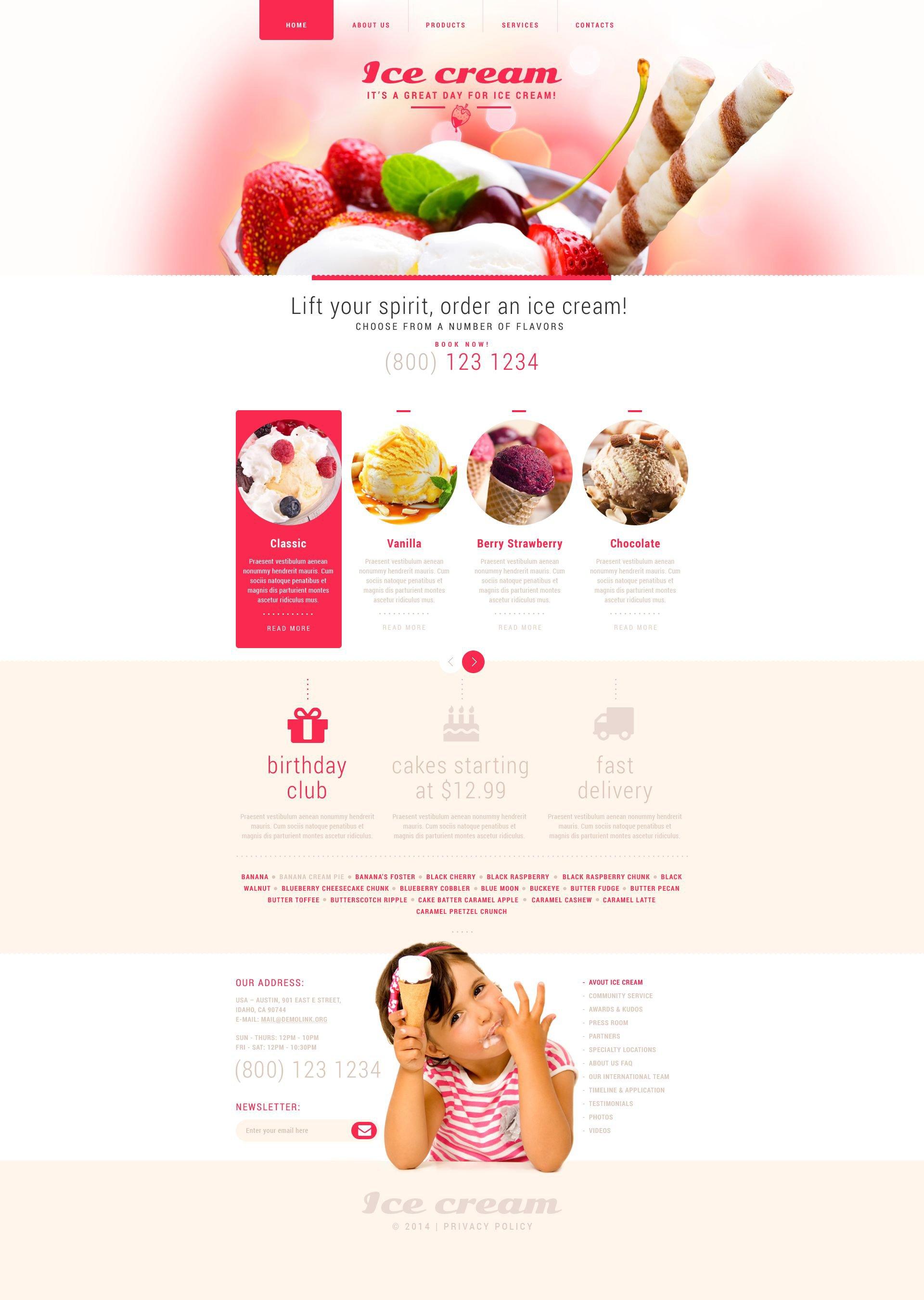 All template: ice cream world website templates.
