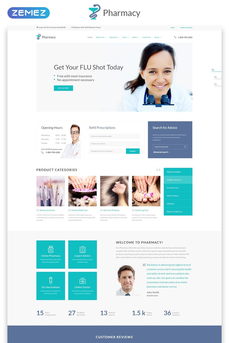 Pharmacy - Medical Multipage HTML5 Website Template