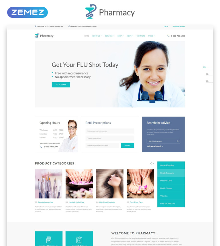 Pharmacy Medical Multipage Html5 Website Template Screenshot