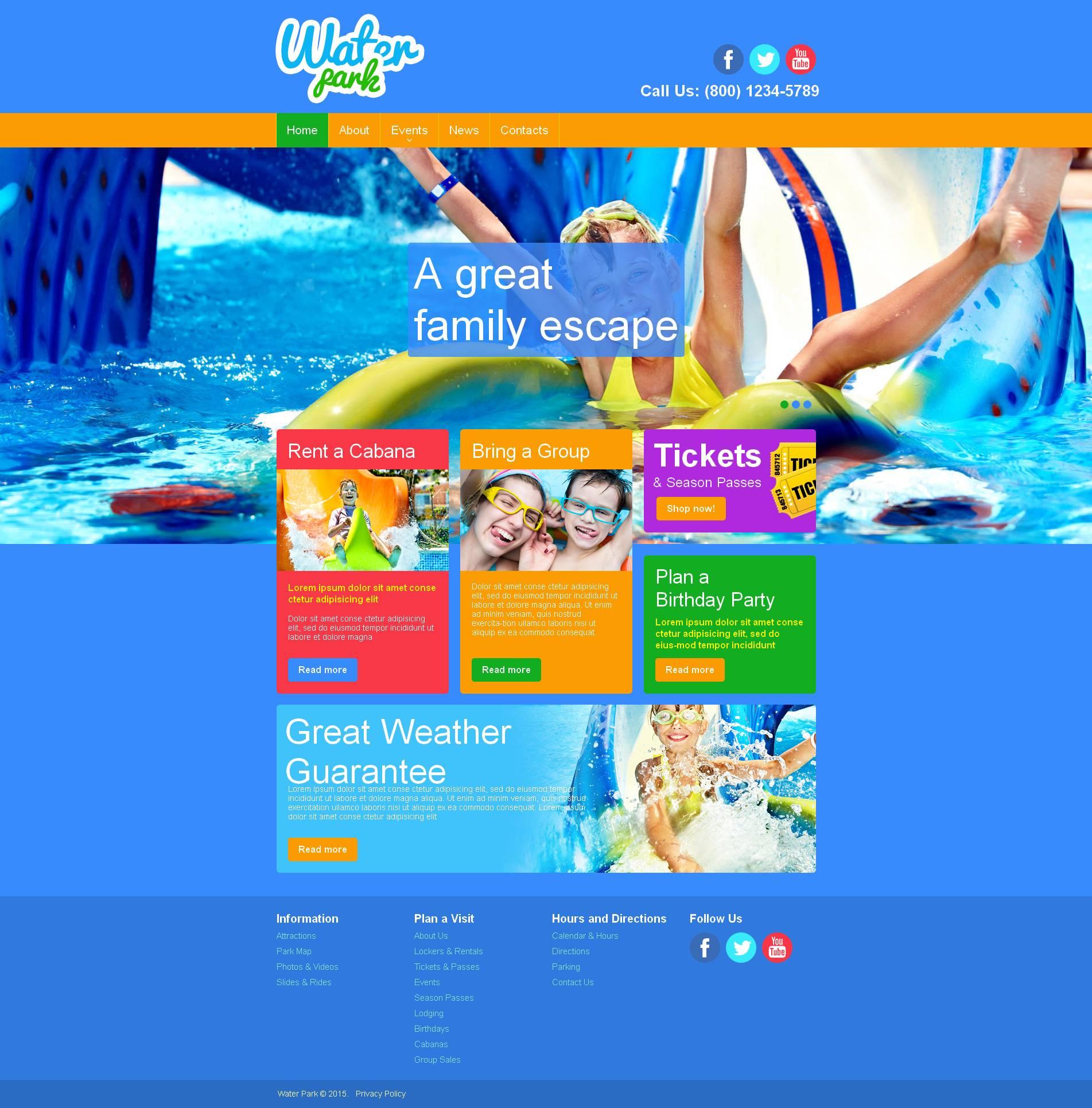 Premium Moto CMS HTML Template over Pretpark №52773
