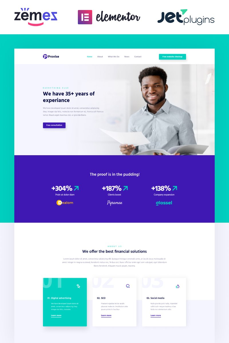 """Provise - Special Financial Consulting"" - адаптивний WordPress шаблон №52702"