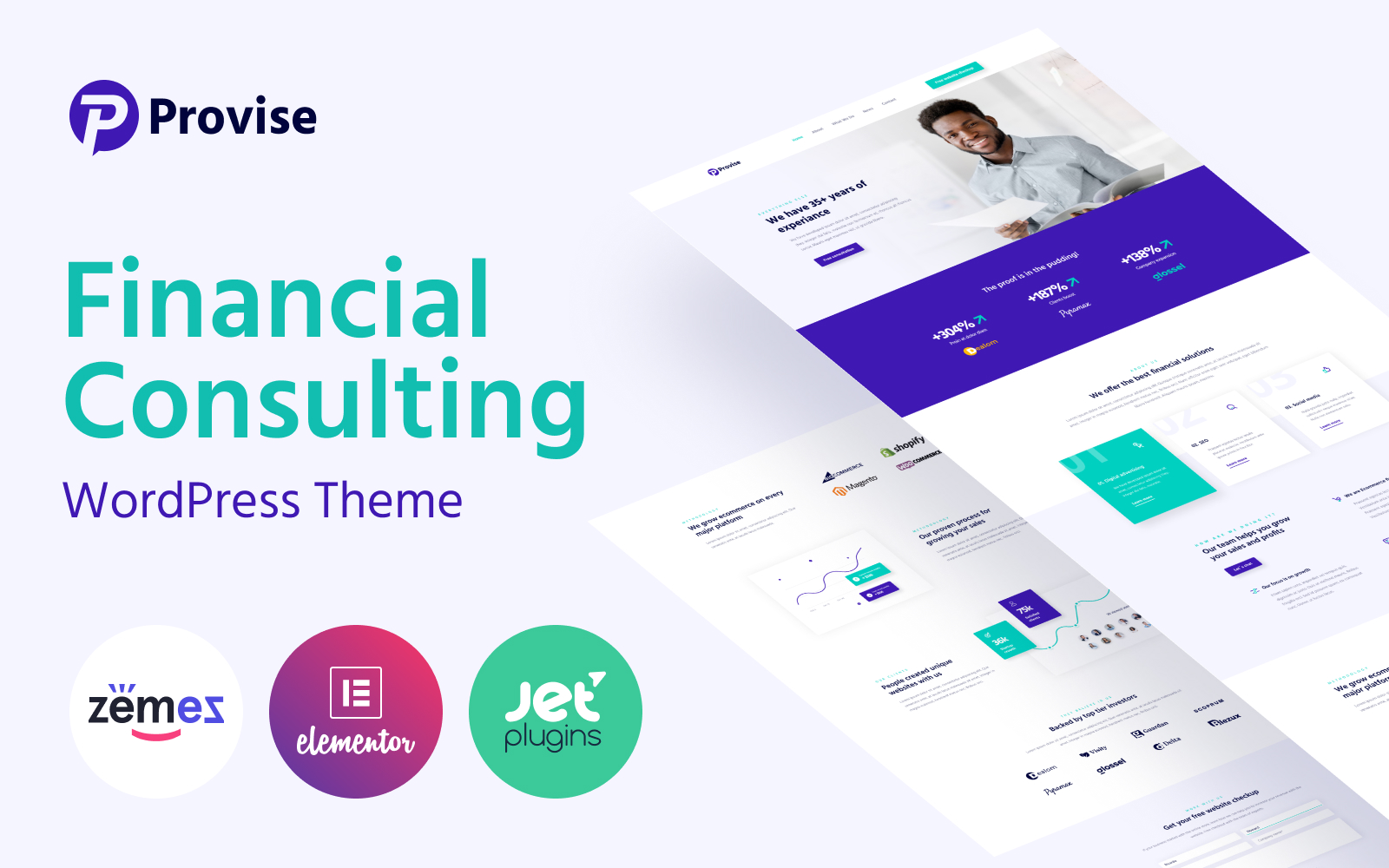 """""""Provise - Special Financial Consulting"""" Responsive WordPress thema №52702"""