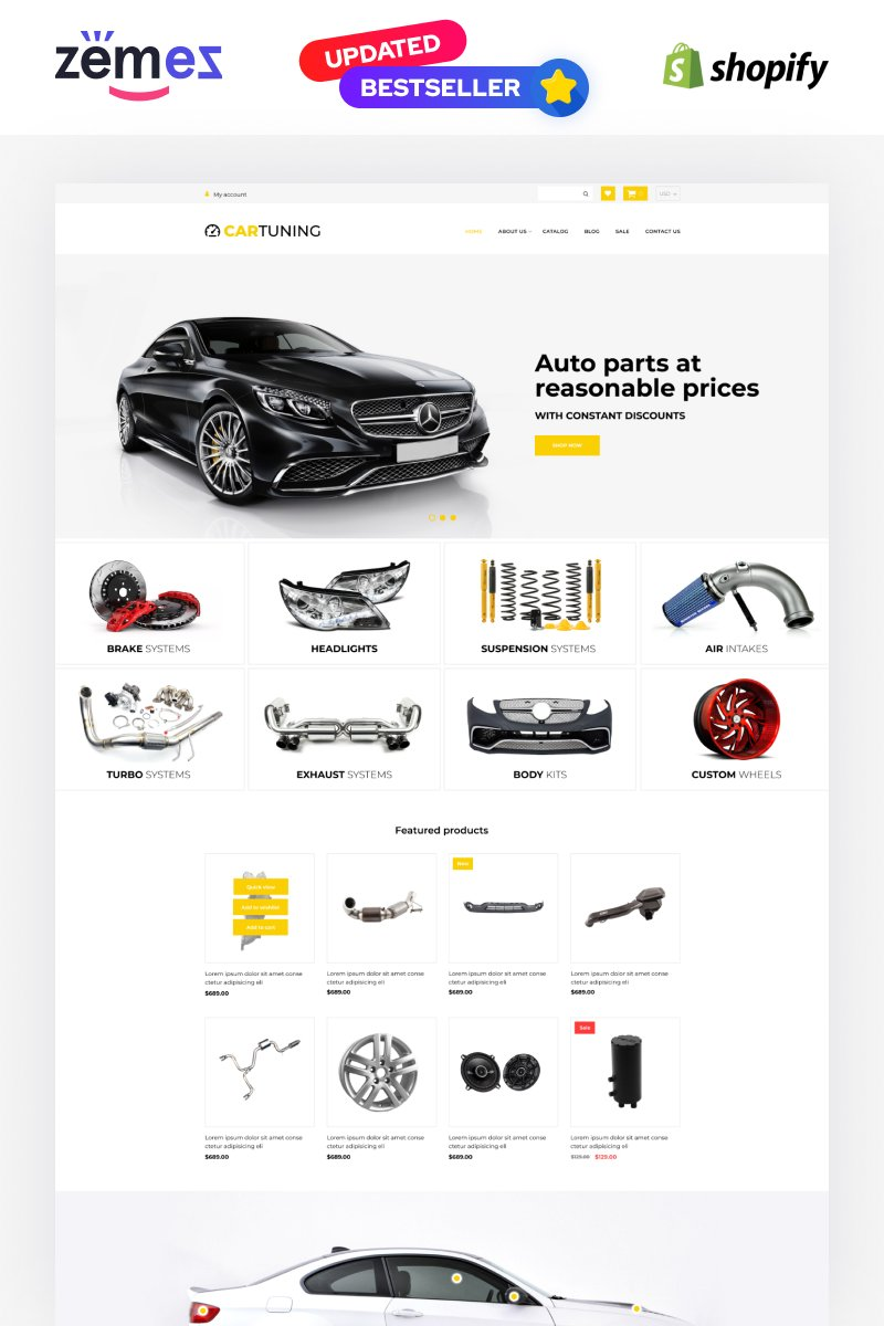 Responsivt Car Tuning eCommerce Template Shopify-tema #52725