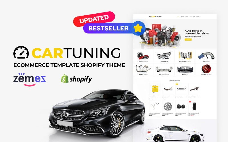 Reszponzív Car Tuning eCommerce Template Shopify sablon 52725