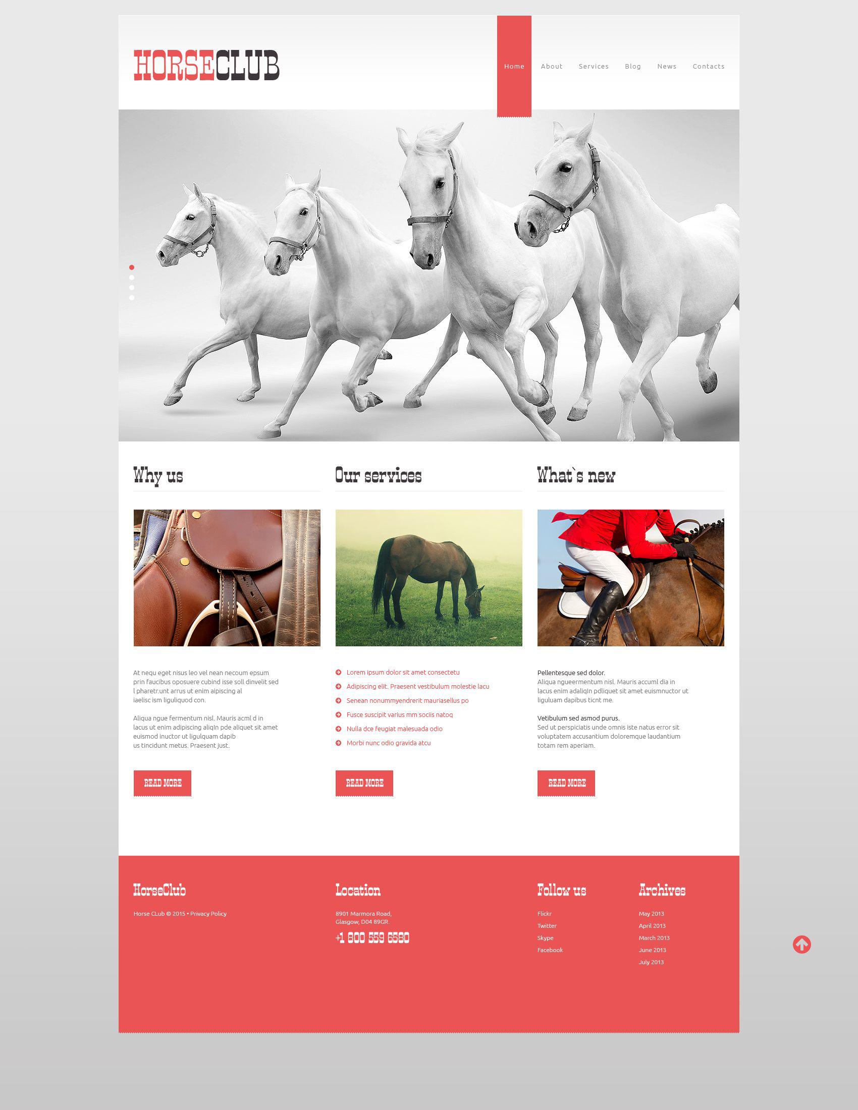Reszponzív Horse Club WordPress sablon 52705 - képernyőkép