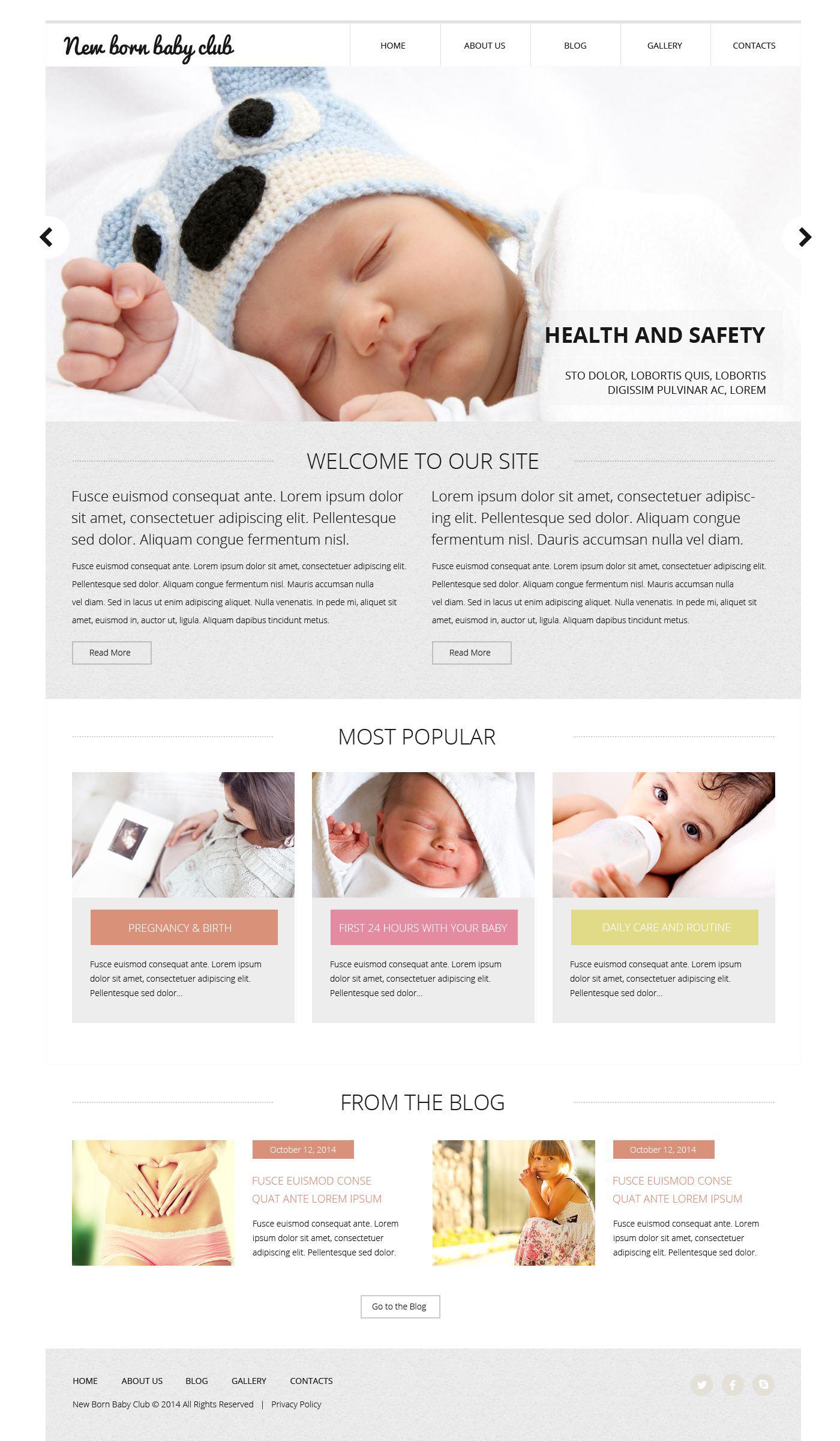 Reszponzív New Born Baby Club Weboldal sablon 52750