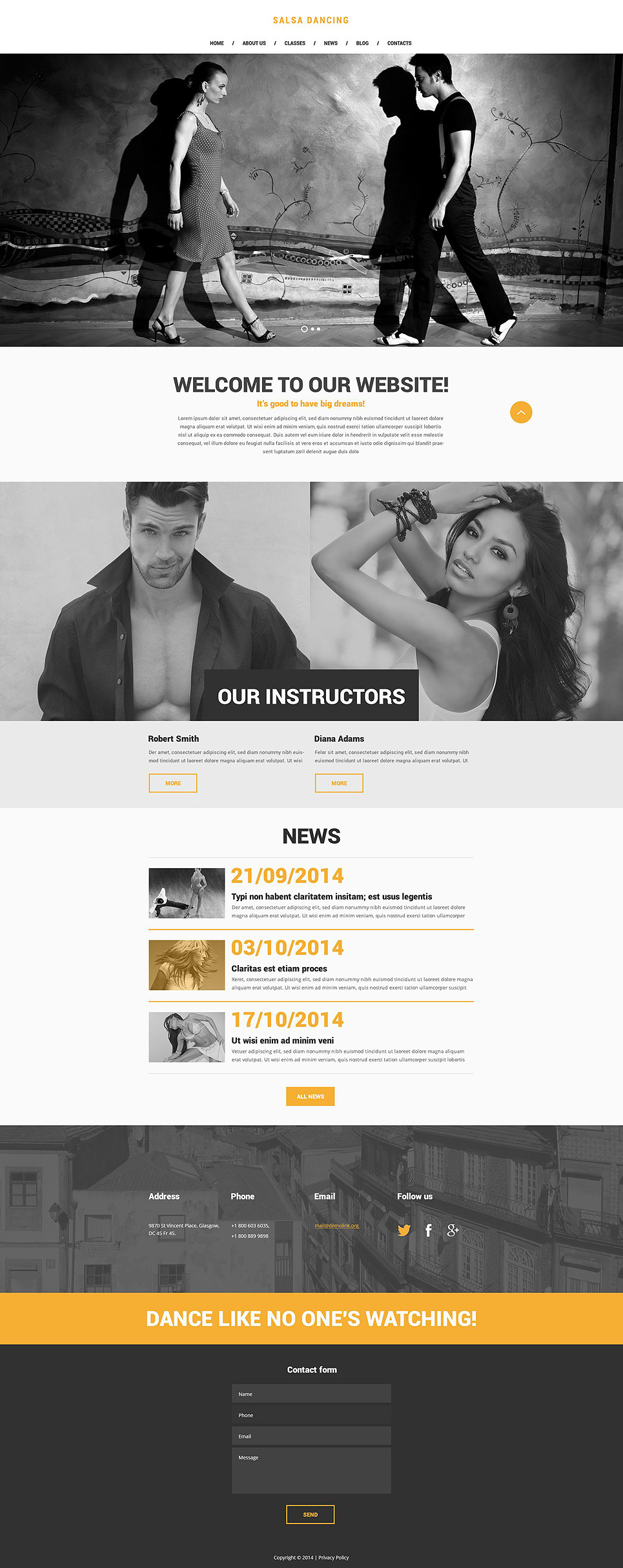 Salsa Club Website Template New Screenshots BIG