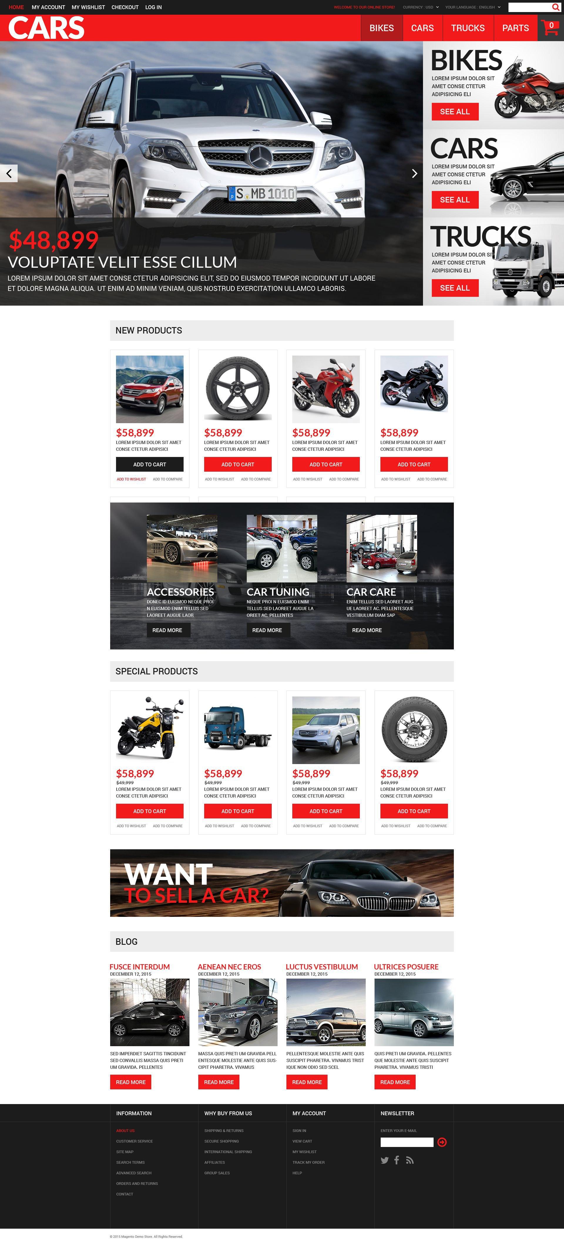 """Successful Auto Dealers"" thème Magento adaptatif #52743"