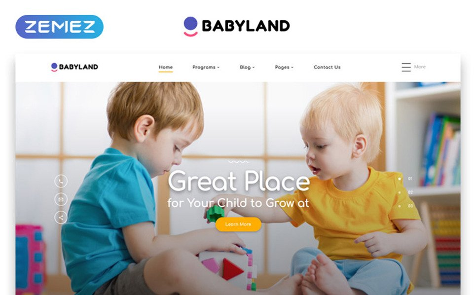 Responsive Website template over Kinderdagverblijf  New Screenshots BIG