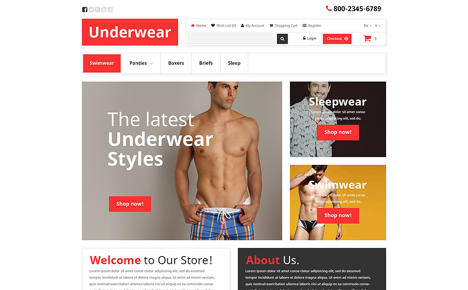 Responsywny szablon OpenCart #52820 na temat: bielizna męska New Screenshots BIG