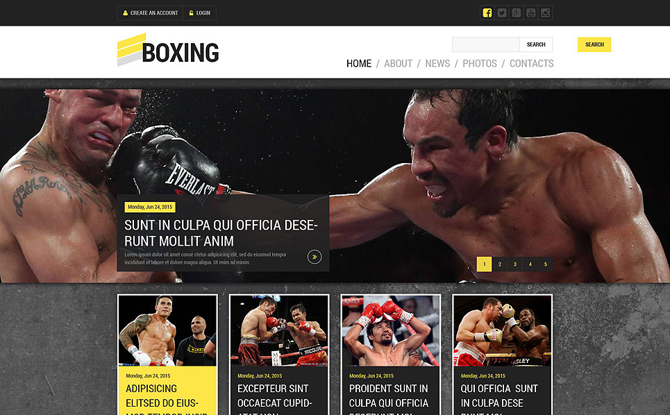 Responsive Website Vorlage für Boxing  New Screenshots BIG