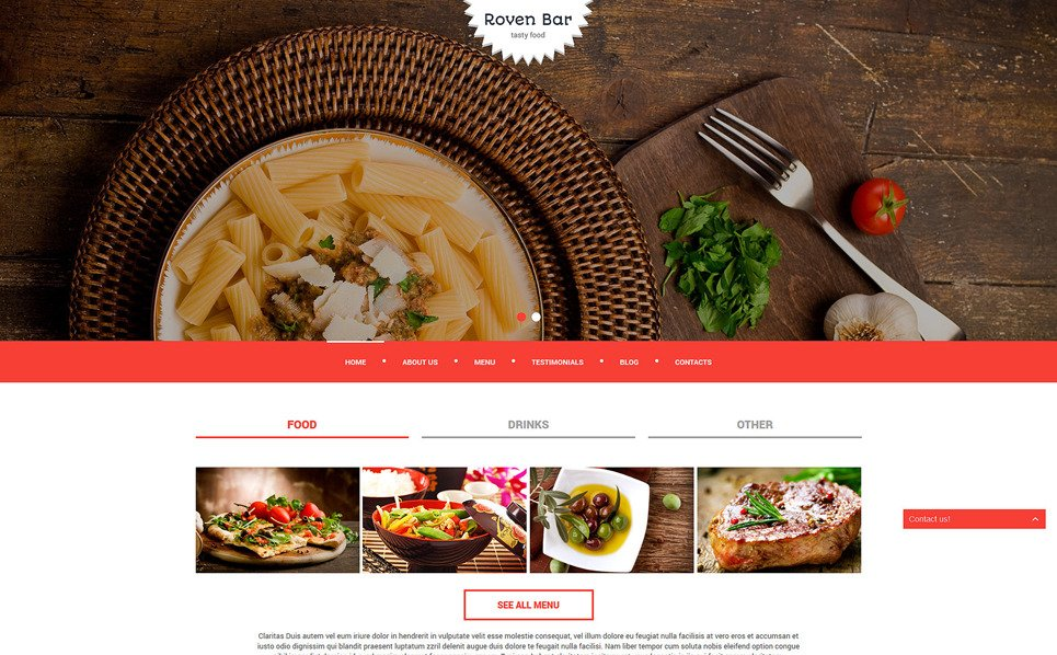 Responsive European Restaurant Templates Joomla Şablonu New Screenshots BIG
