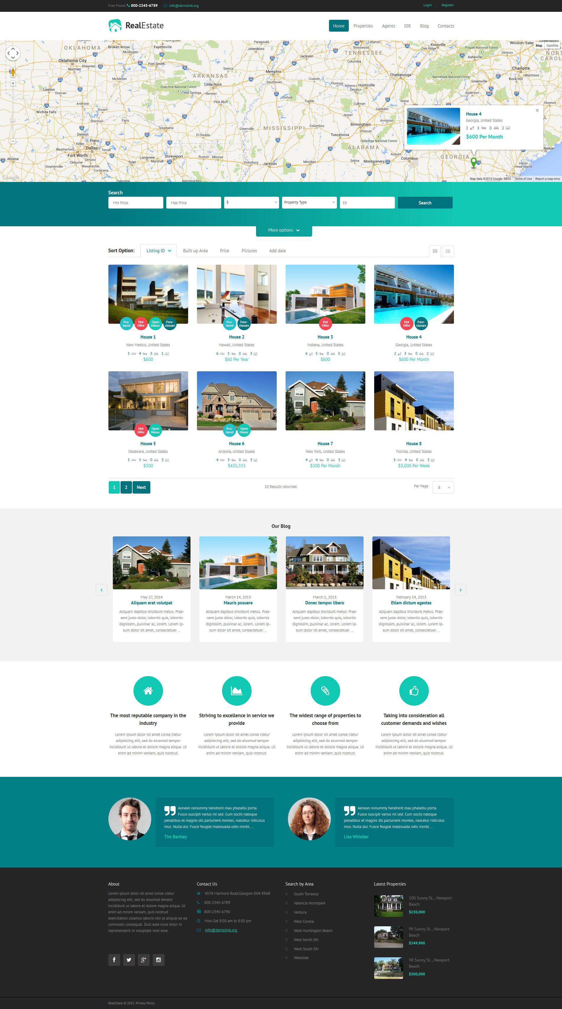 Адаптивний WordPress шаблон на тему агентство нерухомості №52837 - скріншот