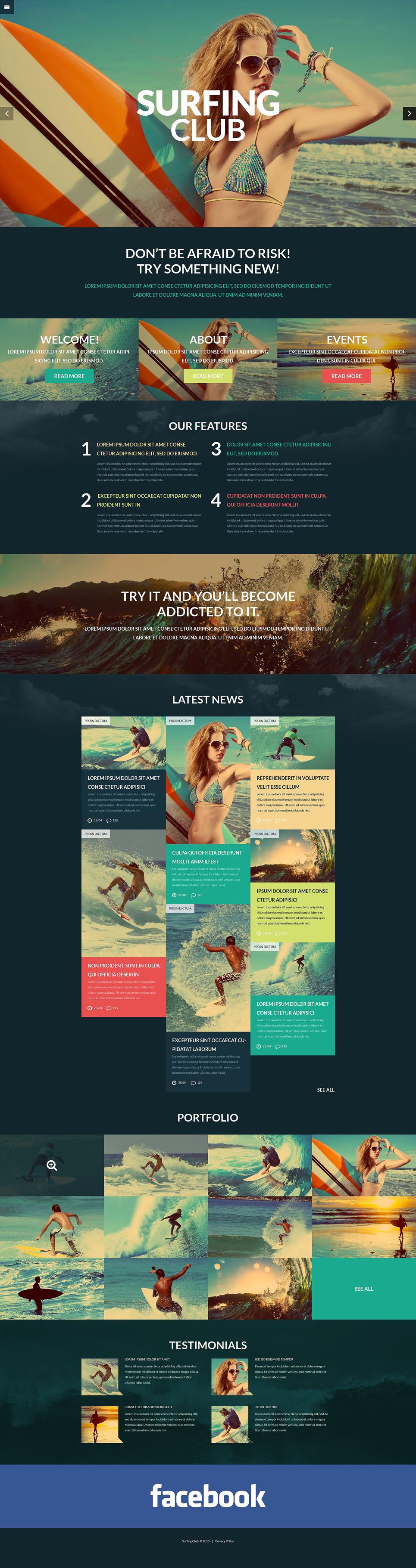 Адаптивный шаблон сайта на тему серфинг #52824
