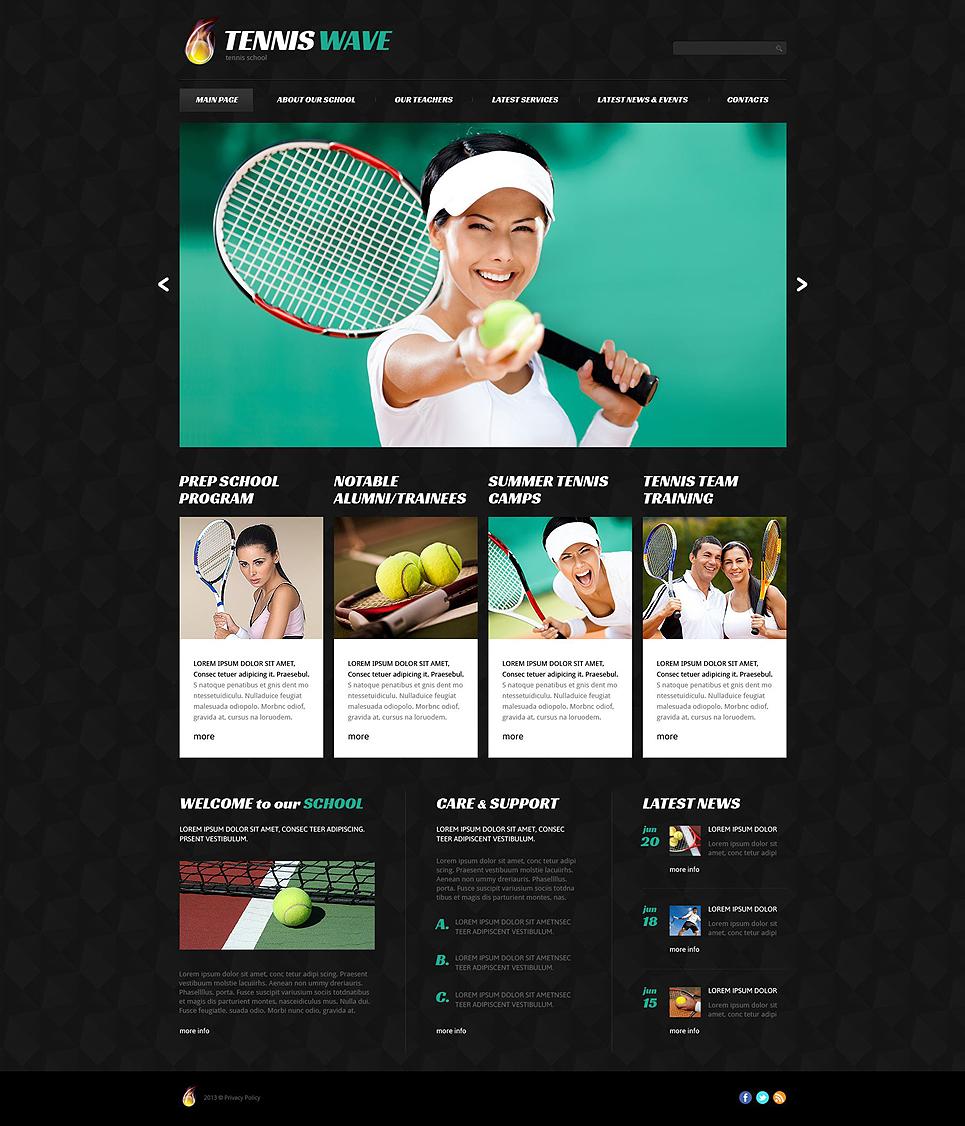 Адаптивный шаблон сайта на тему теннис #52829