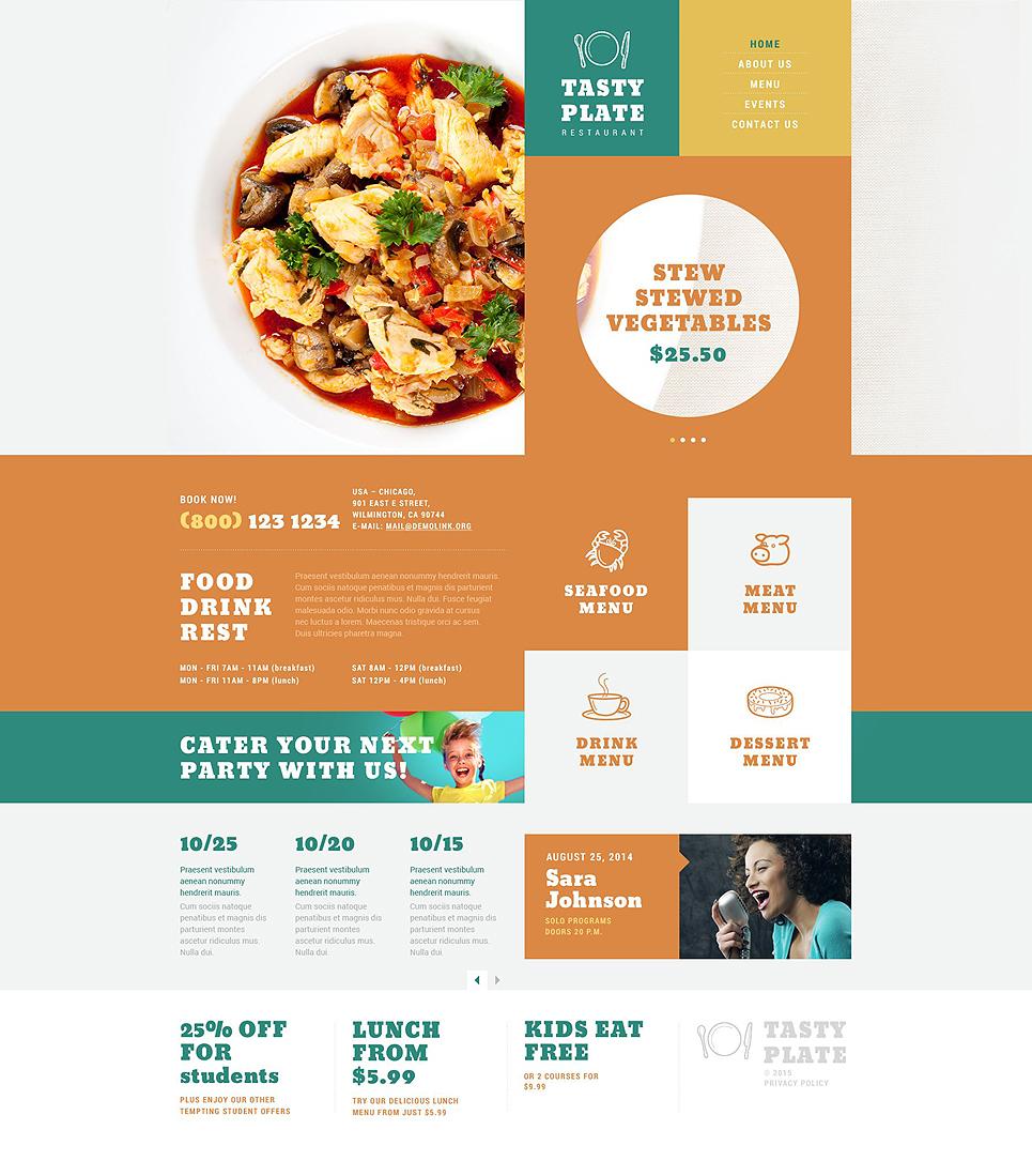 Адаптивный шаблон сайта на тему европейский ресторан #52836