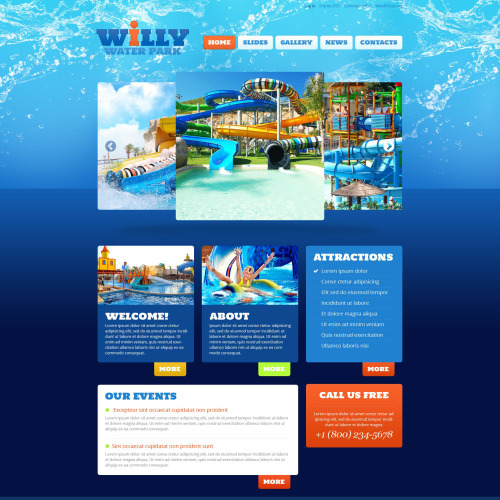 Willy Water Park - WordPress Template based on Bootstrap