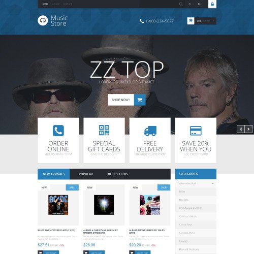 Music Store - PrestaShop Template based on Bootstrap