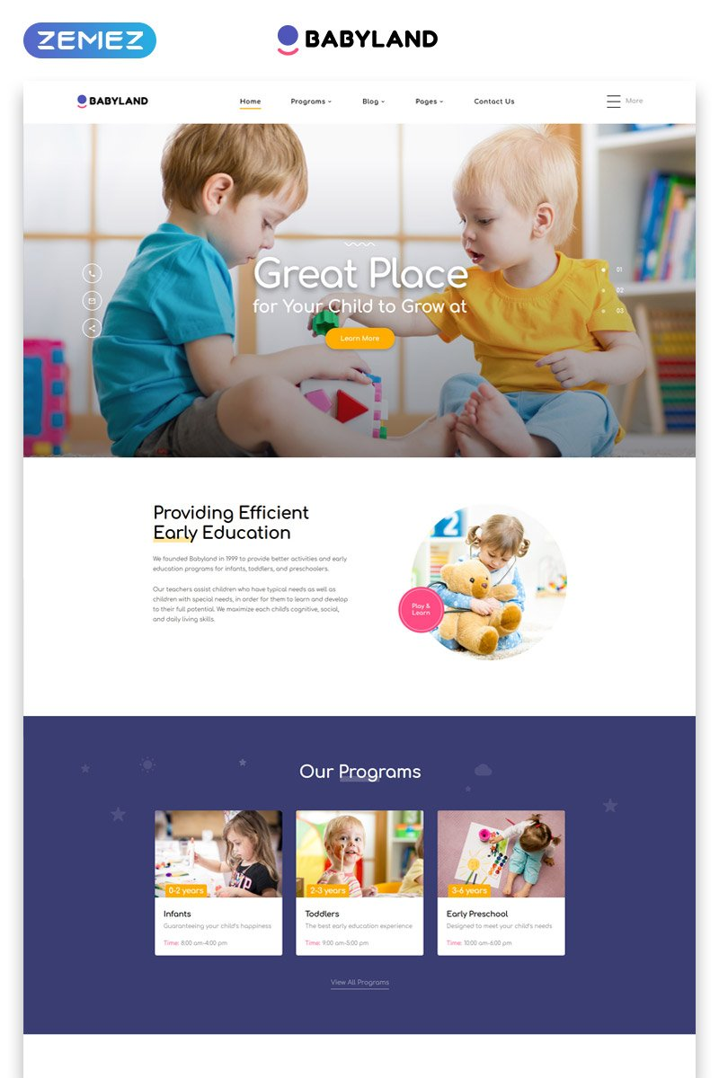 """Babyland - Kids Center Multipage Clean HTML"" 响应式网页模板 #52818"