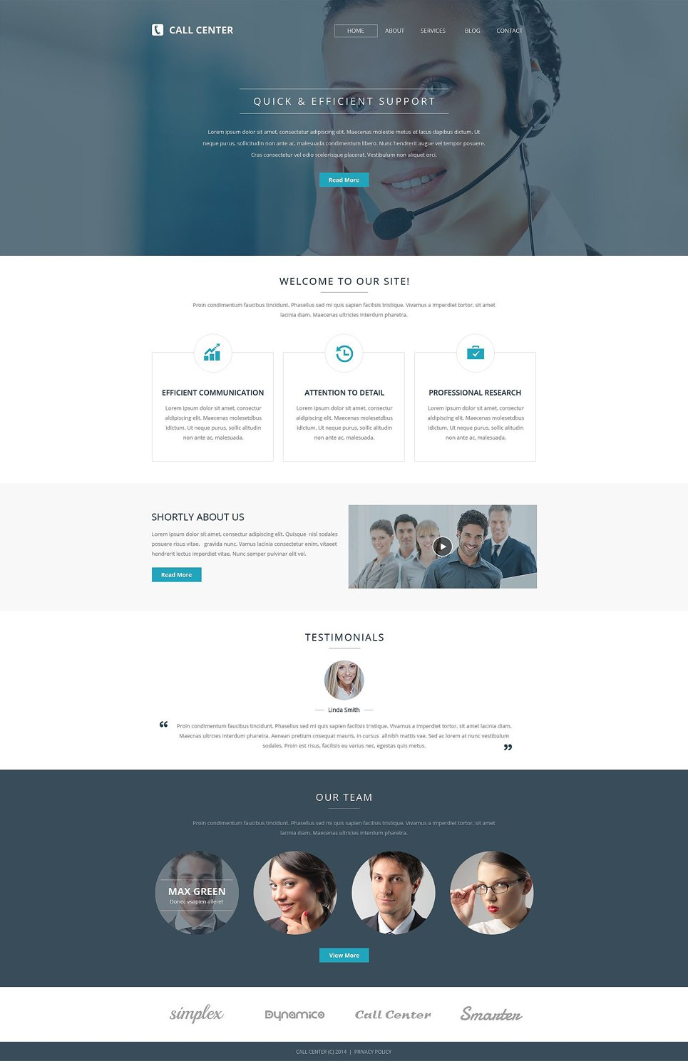 Call Center Responsive Website Template #52816