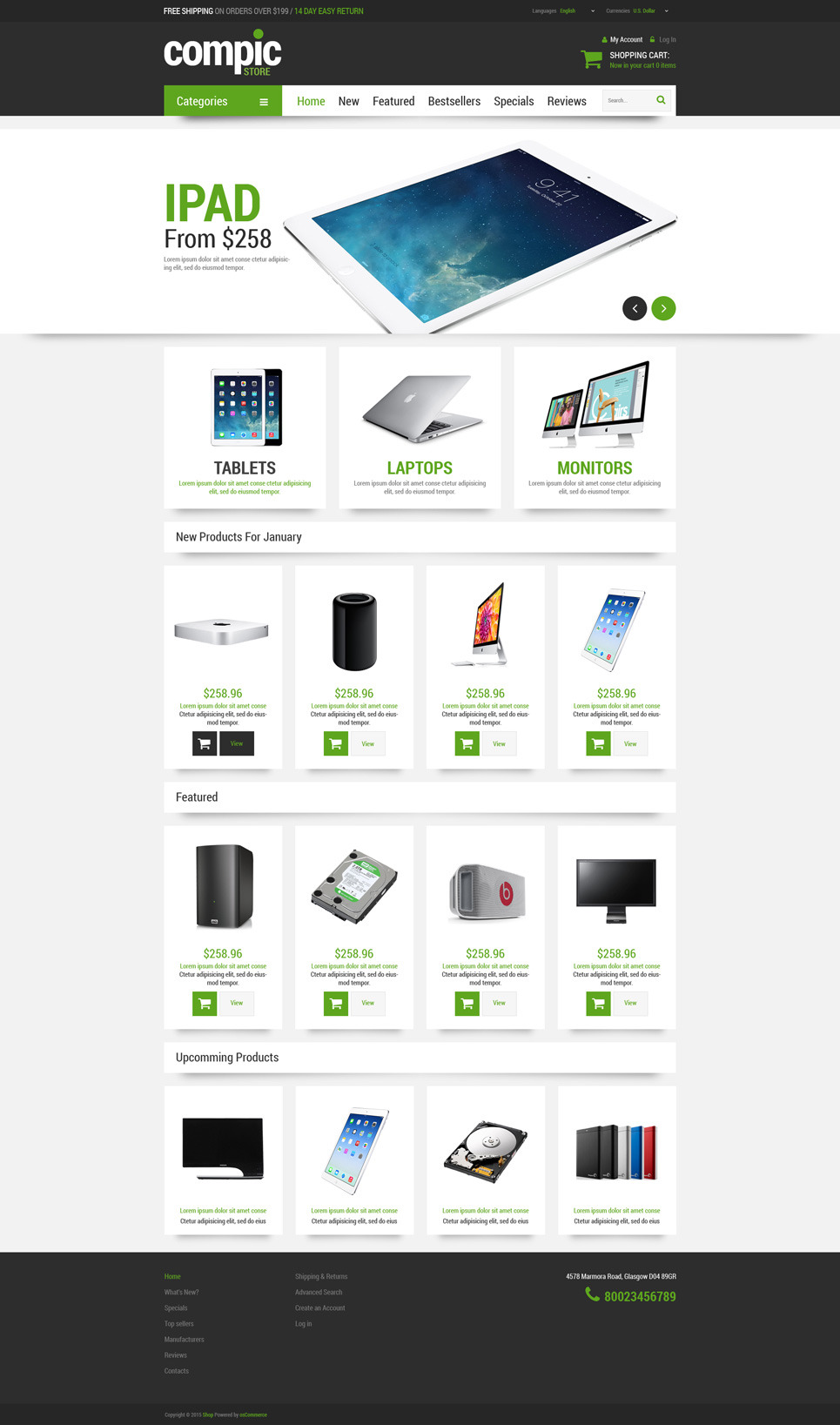 Computer Hardware OsCommerce Template New Screenshots BIG