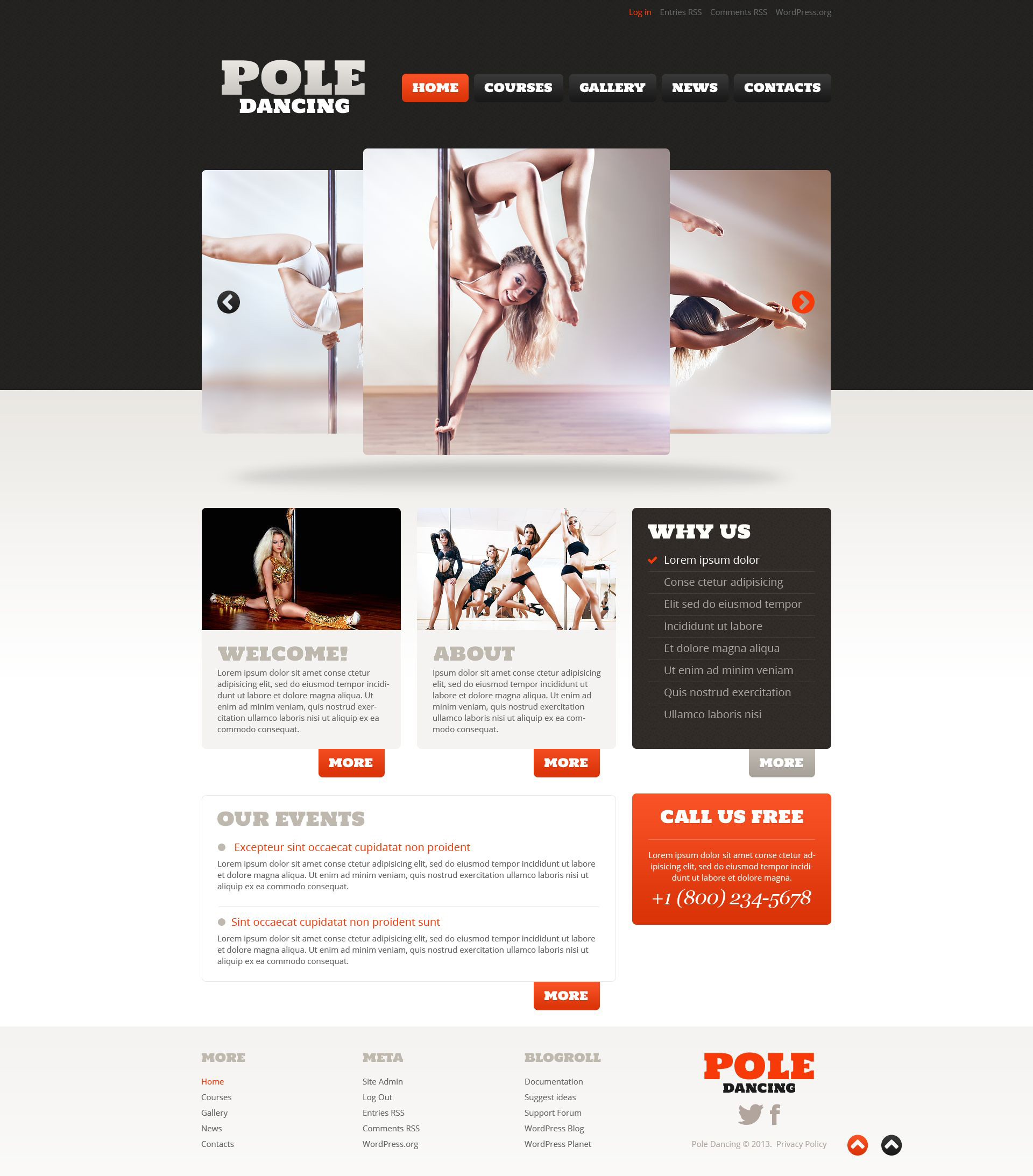 Dance Studio Responsive WordPress Theme #52825