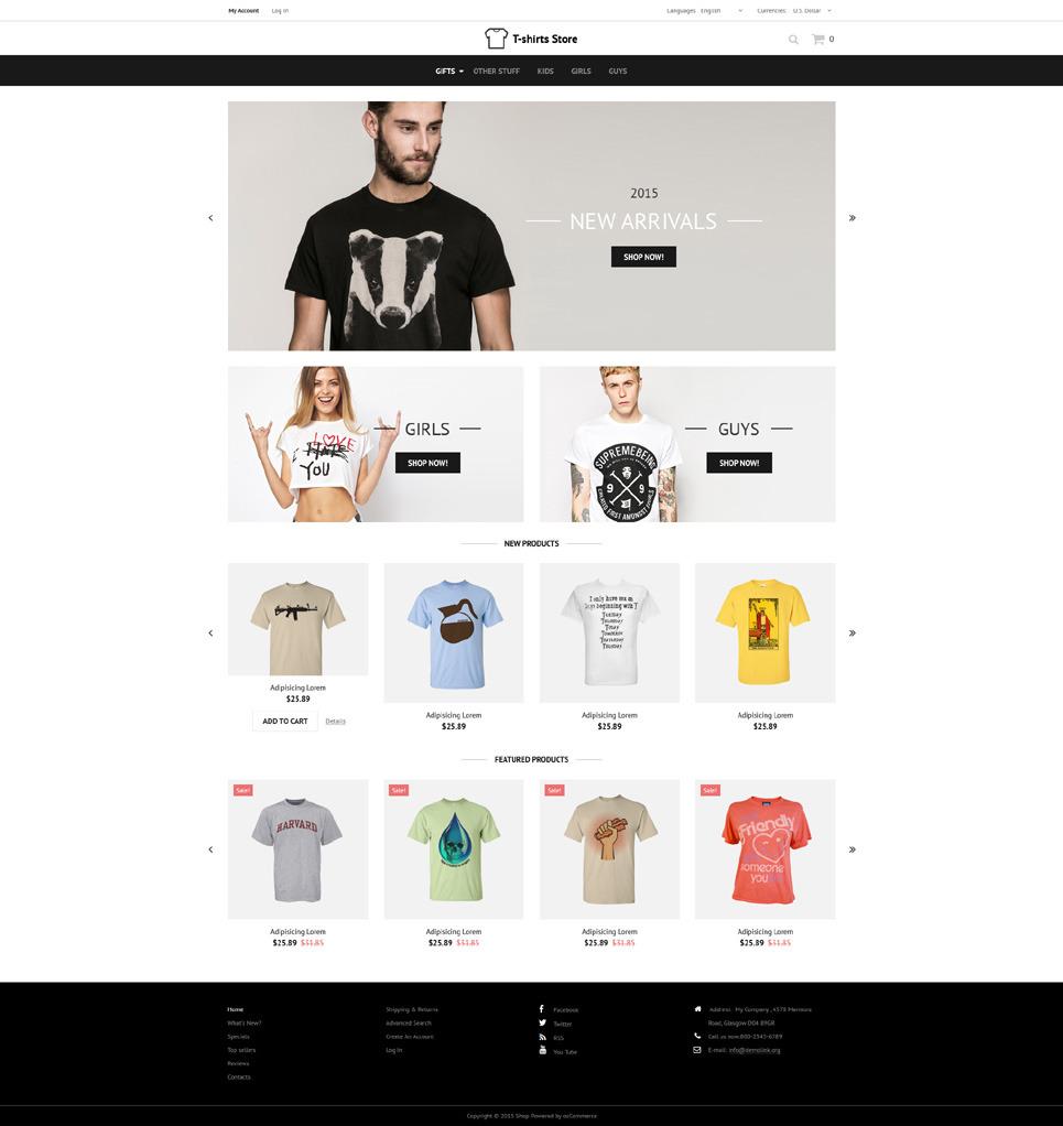 Designed TShirts OsCommerce Template New Screenshots BIG