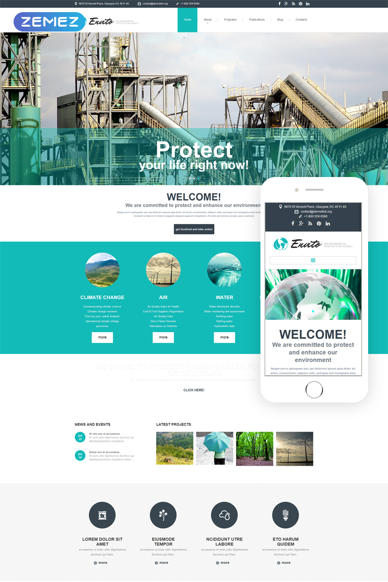 Environmental responsive joomla template 52842 for Jooma templates