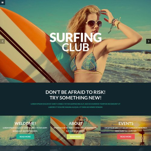 Surfing Club - WordPress Template based on Bootstrap
