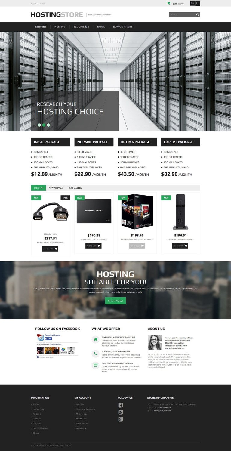 Hosting PrestaShop Theme New Screenshots BIG