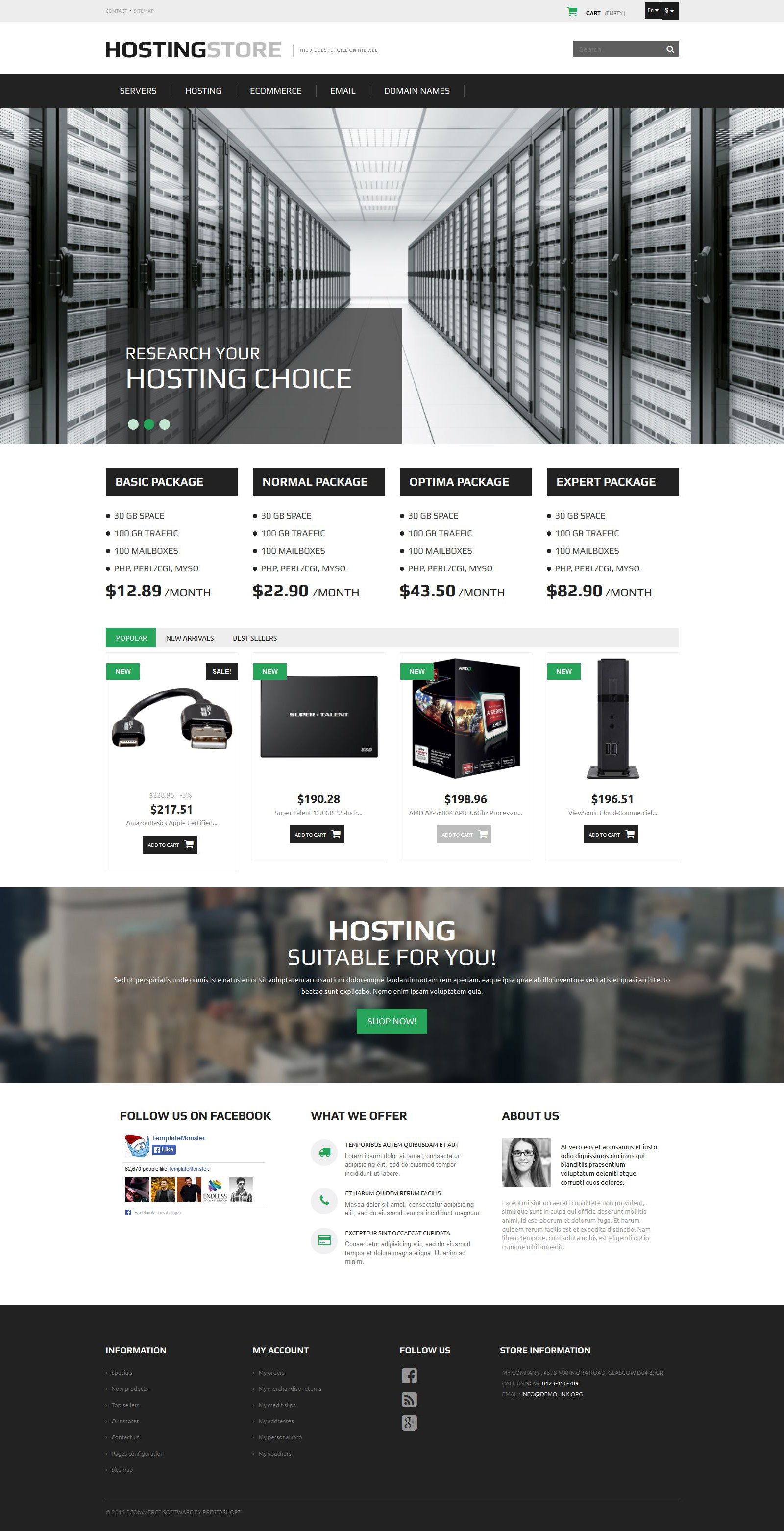 Hosting PrestaShop Theme