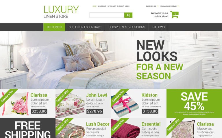 Luxury Linen Store Magento Theme - Luxury go to market presentation scheme