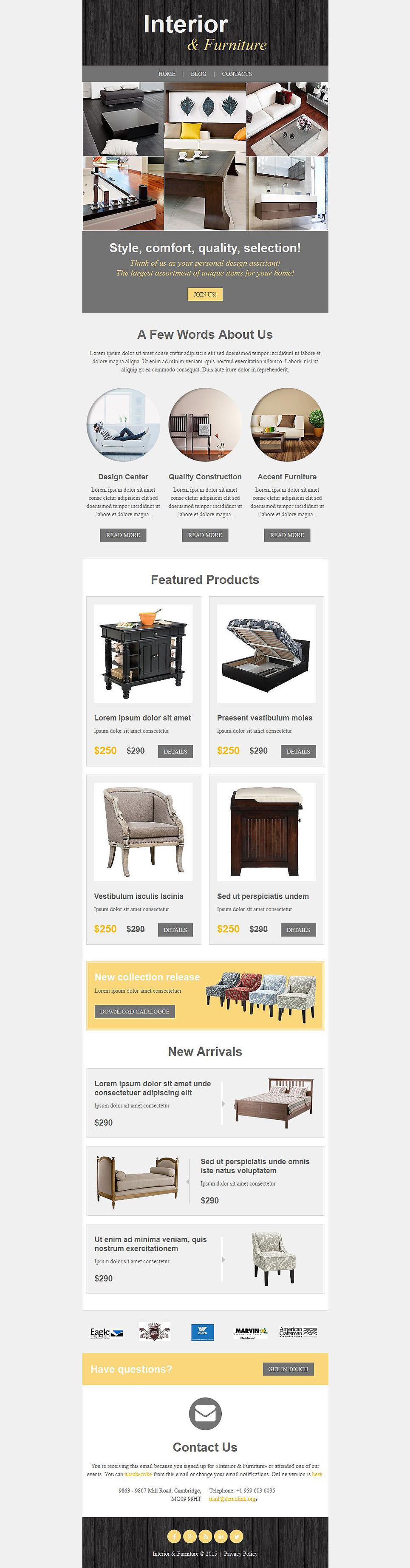 Template di newsletter 52838 per un sito di arredamento e for Sito arredamento design