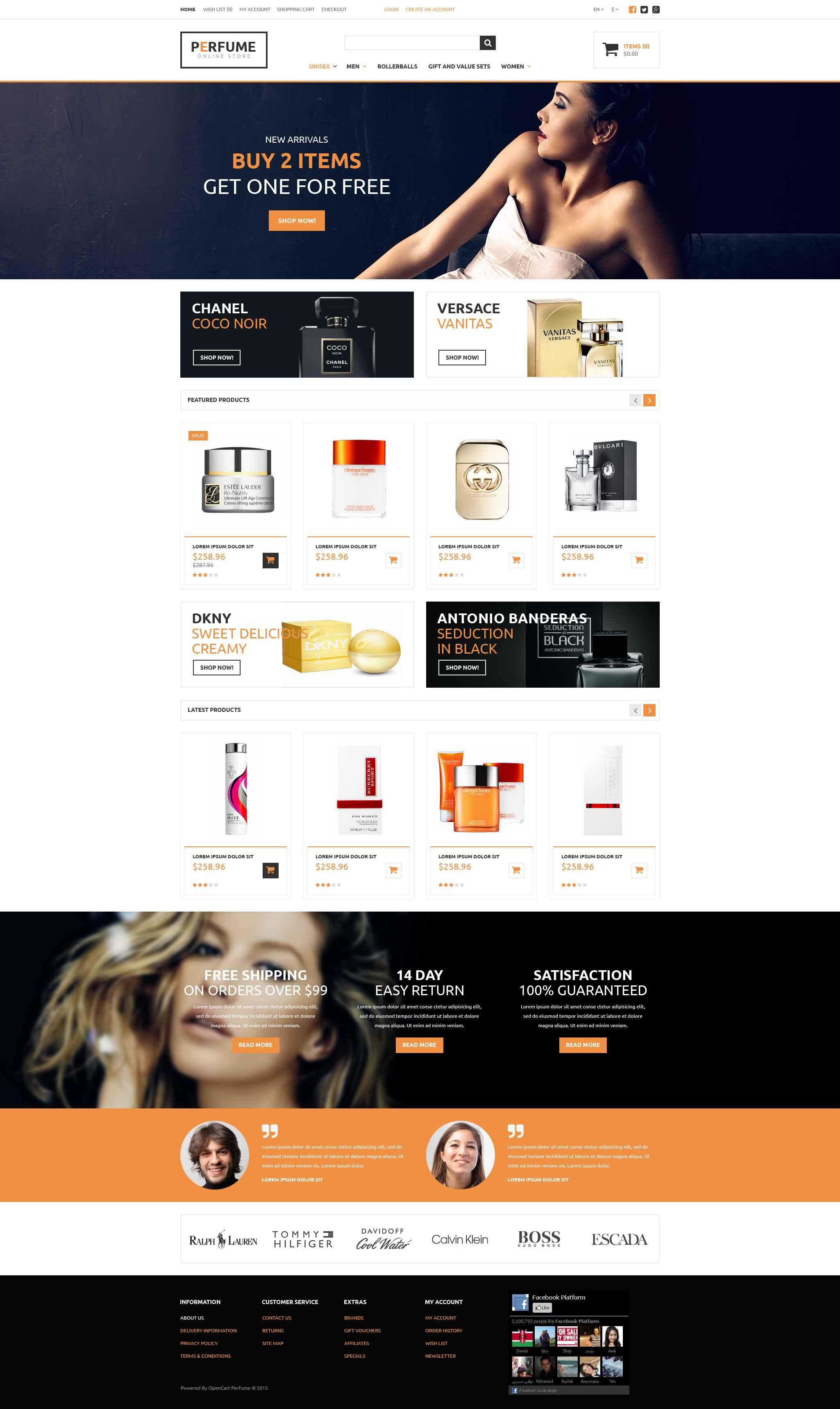 """Perfume Store"" 响应式OpenCart模板 #52850"