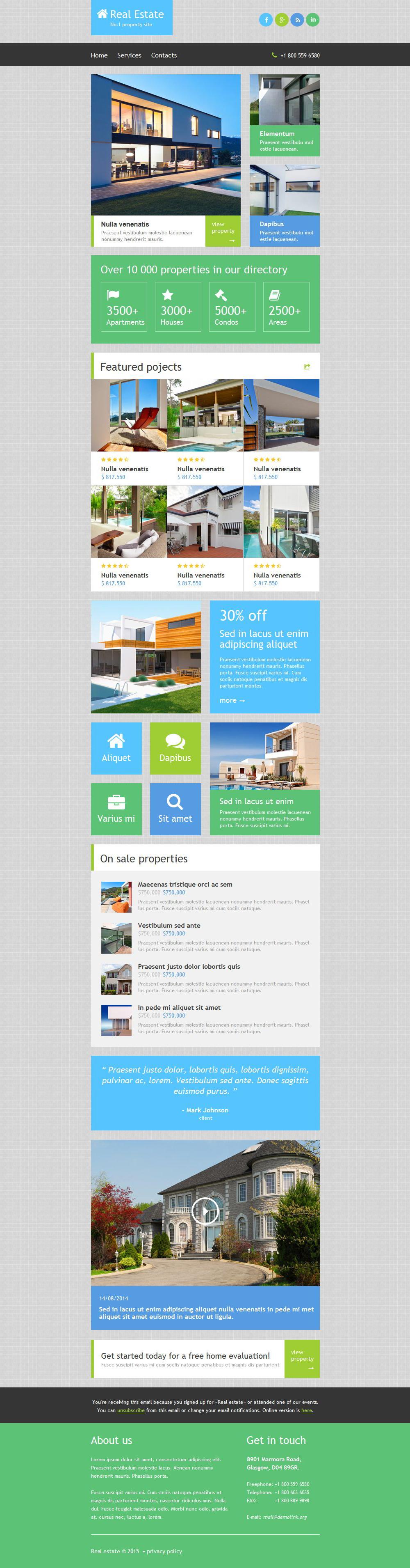 Plantilla De Boletín De Noticias Responsive para Sitio de Agencias inmobiliarias #52885