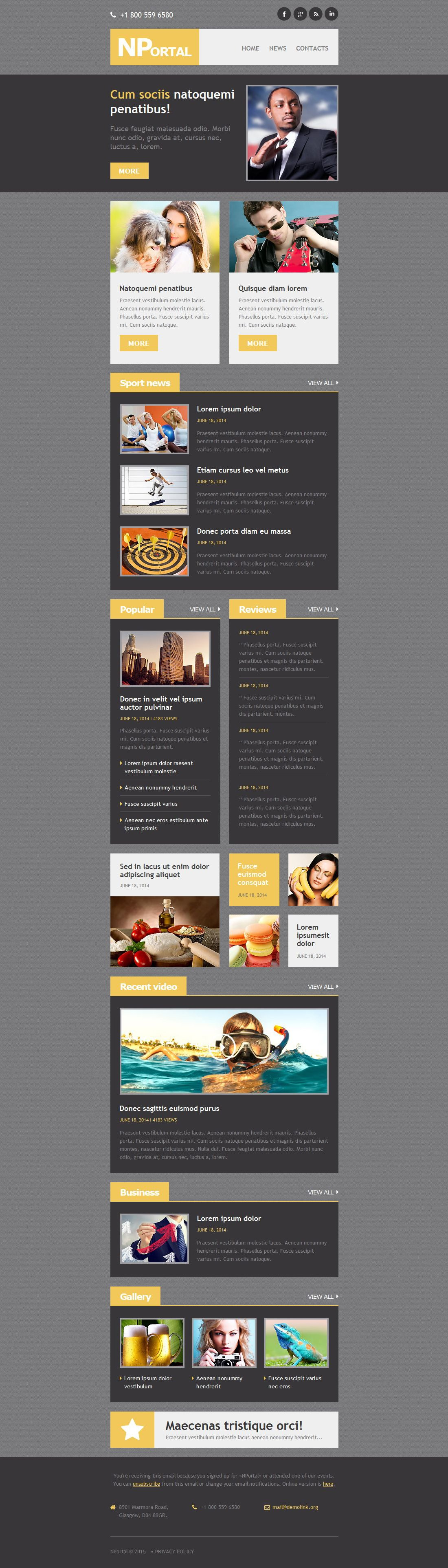 Plantilla De Boletín De Noticias Responsive para Sitio de Portal de Noticias #52812