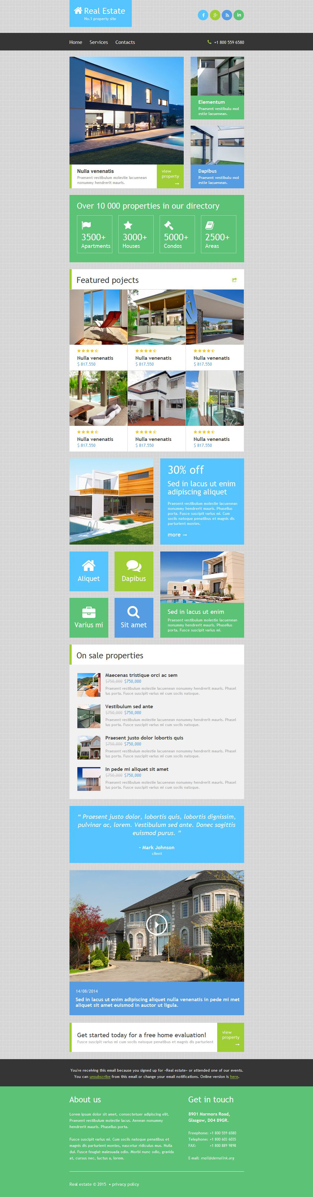 Real Estate Agency Responsive Newsletter Template 52885 – Real Estate Newsletter Template