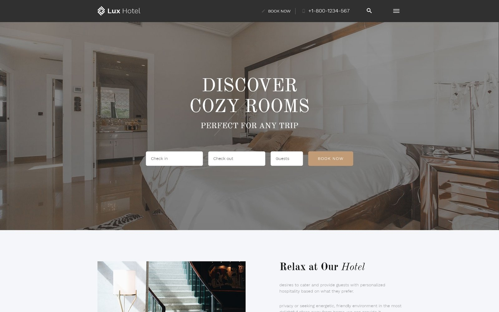 Responsivt Lux Hotel - Hotel Multipage HTML5 Hemsidemall #52815