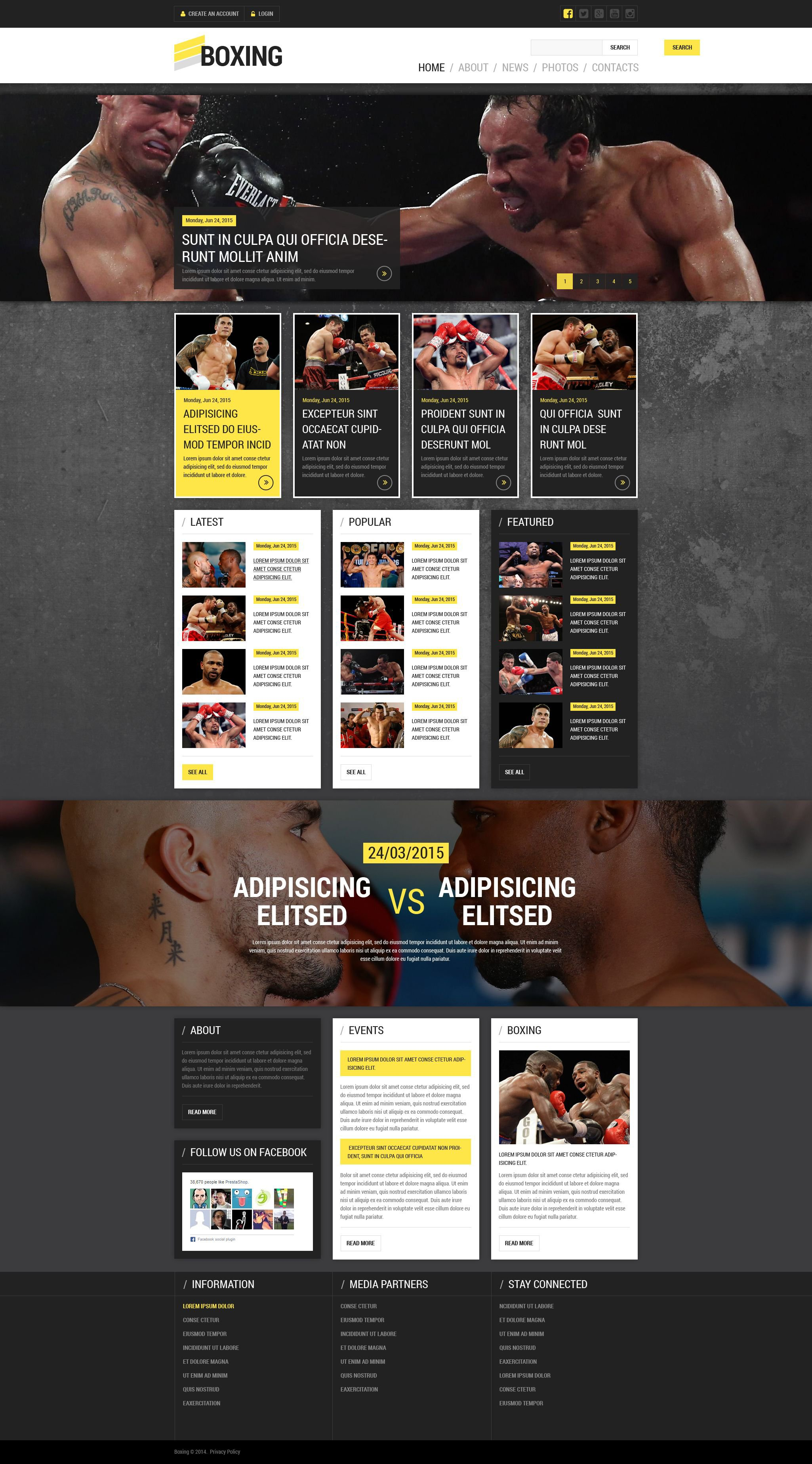 Responsywny szablon strony www Boxing Portal #52848