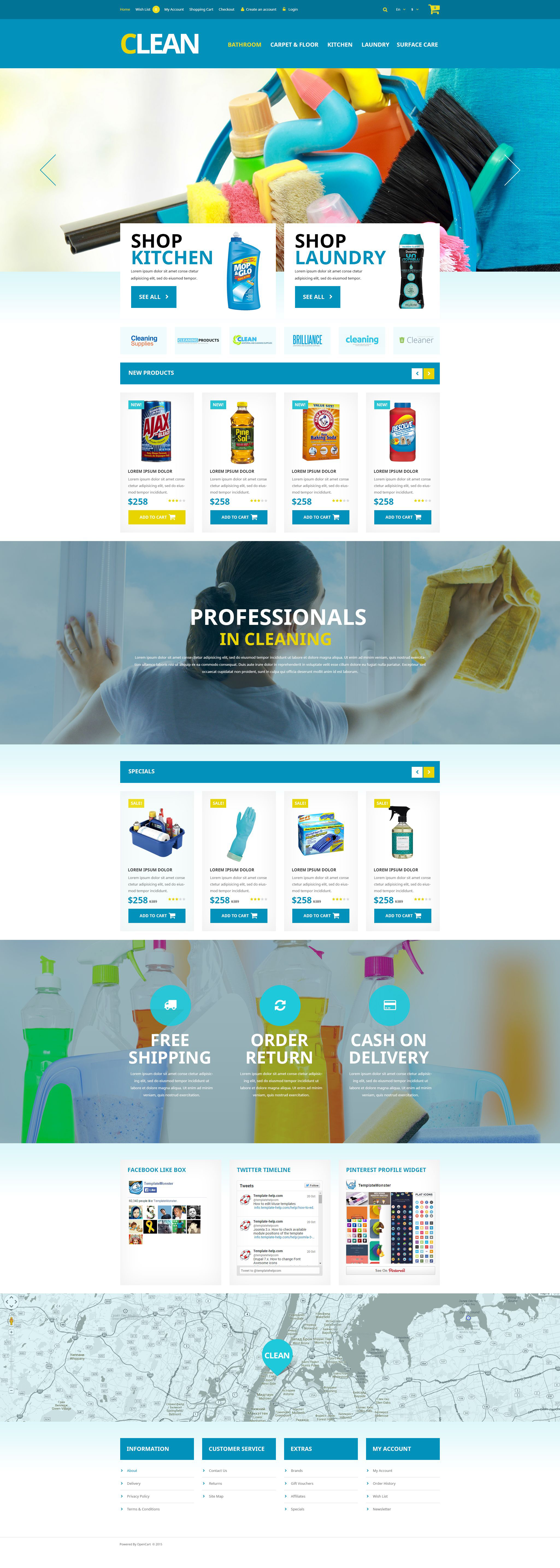 "Responzivní OpenCart šablona ""Home Cleaning Supplies"" #52803"