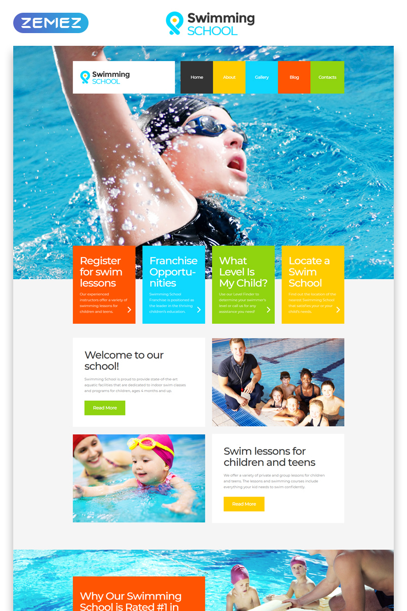 """Swimming School Clean Responsive HTML5"" 响应式网页模板 #52860"