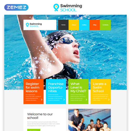 Swimming School - Responsive Website Template