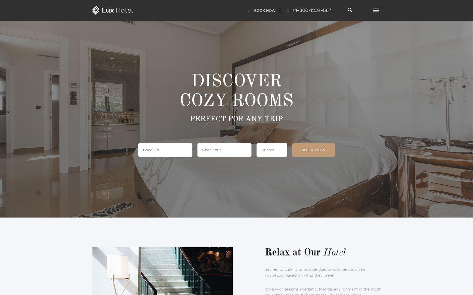 "Tema Siti Web Responsive #52815 ""Lux Hotel - Hotel Multipage HTML5"""