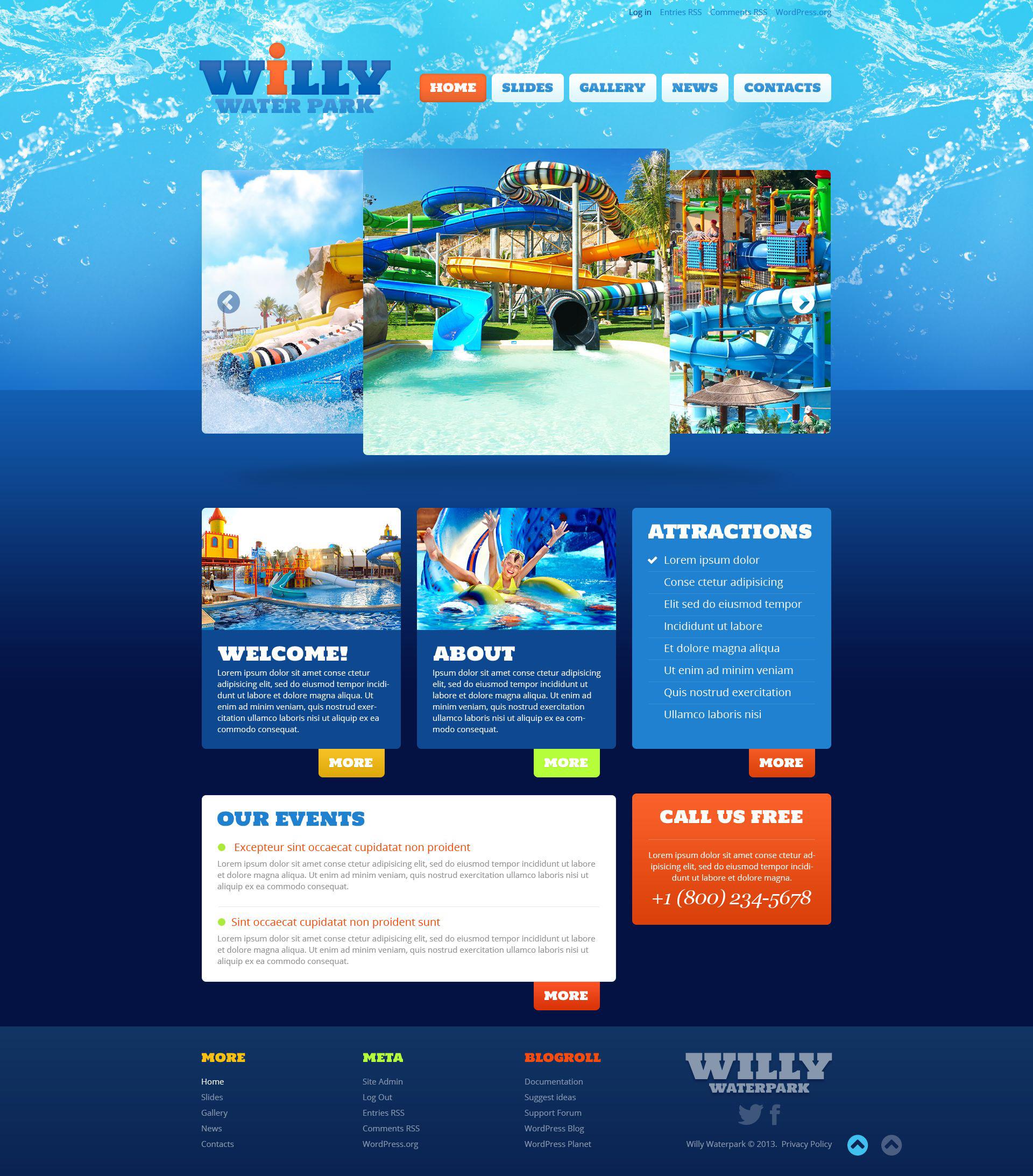Thème WordPress adaptatif pour site de parc d'attractions #52826