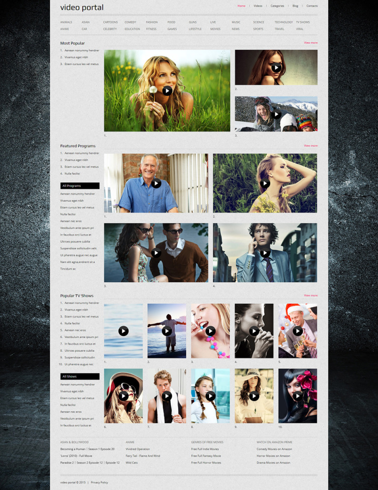 Video Gallery Responsive Joomla Template New Screenshots BIG