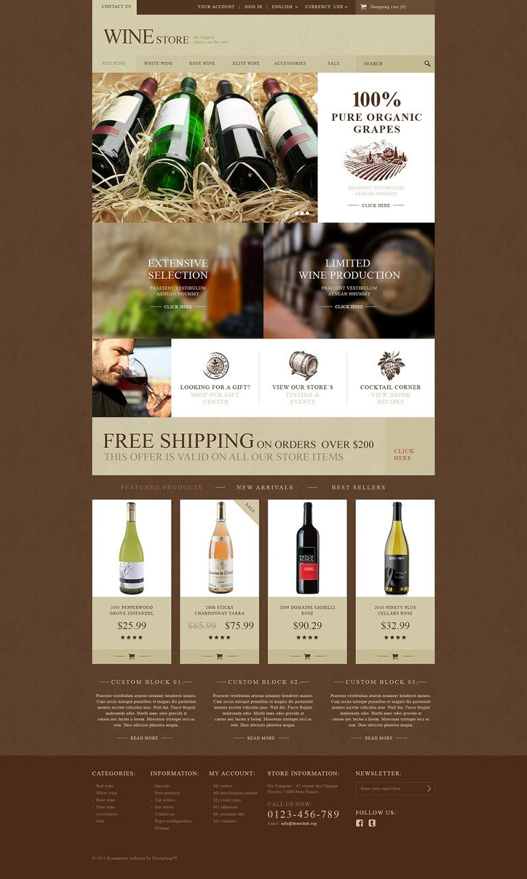 Wine Store PrestaShop Theme New Screenshots BIG