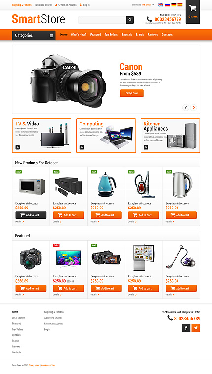 osCommerce Template 52928 Main Page Screenshot