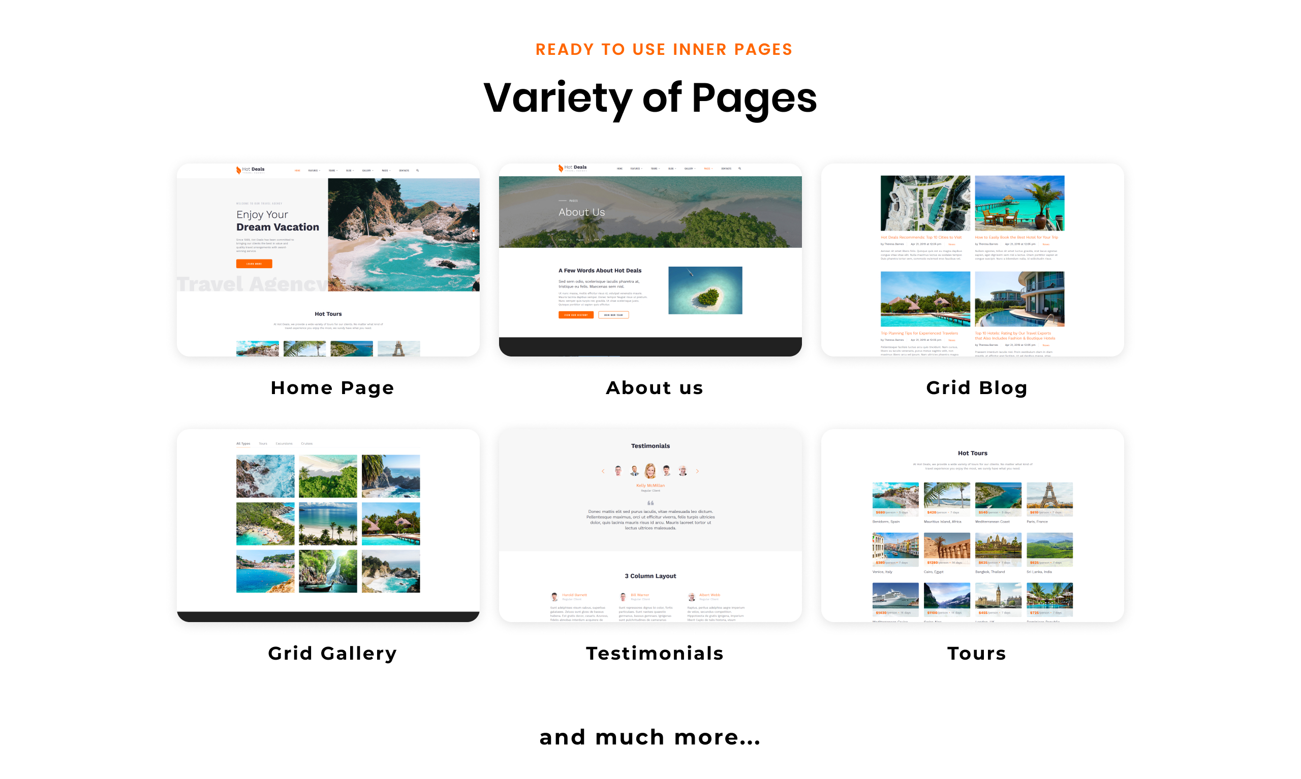 Template 52960 : Hot Deals - Travel Agency Clean Multipage