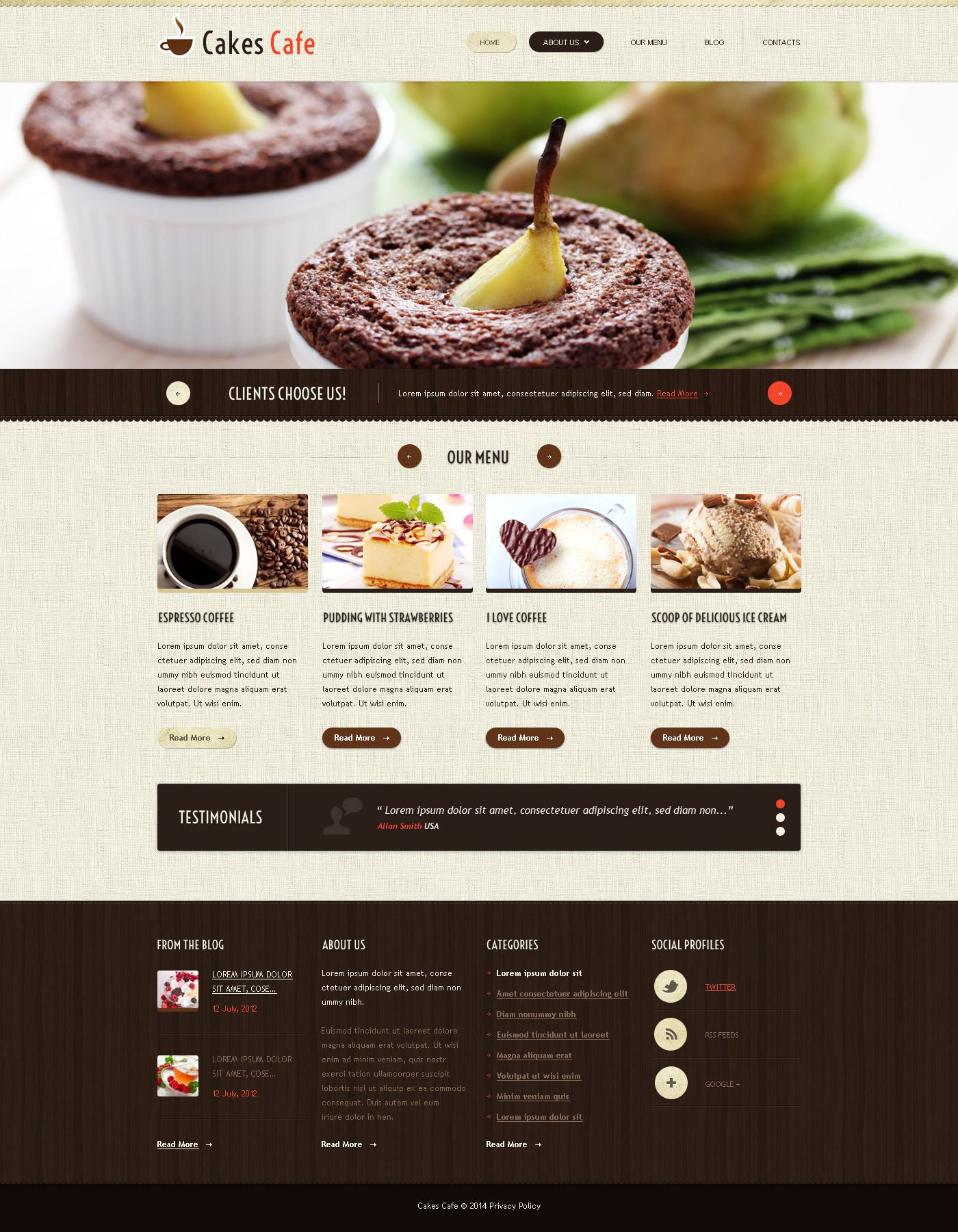 The Cafe Cake Blog Responsive Javascript Animated Design 52977, one of the best website templates of its kind (cafe and restaurant, most popular), also known as cafe cake blog website template, cakes website template, sweet tasty website template, pleasure website template, recipe website template, confectionery website template, dessert website template, celebration store website template, delights and related with cafe cake blog, cakes, sweet tasty, pleasure, recipe, confectionery, dessert, celebration store, delights, etc.